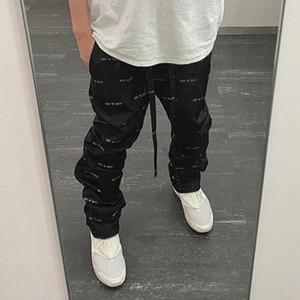 Страх перед Богом All Over печати мешковатые штаны FOG повседневные брюки черный абрикос Мужчины Женщины Длинные брюки Брюки Хип-хоп Спорт скейтборд Streetwear