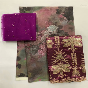 2+2+5 yards silk lace African Fabric African with George 100% cotton set for women garmen LXE080503
