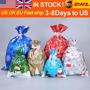 أكياس الحلوى بقعة الجملة هدايا عيد الميلاد حقائب الرباط الفم هالوين هدية عيد الميلاد كيس من البلاستيك مع الرنة سانتا كلوز