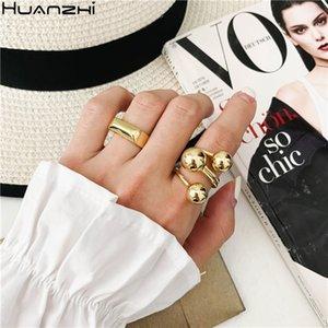Huanzhi 2020 Новые Минималистский Гладкого цветов золото гальванического Геометрическое кольцо квадратного Палец кольцо для женщин Мужчину ювелирных изделий Пары подарков