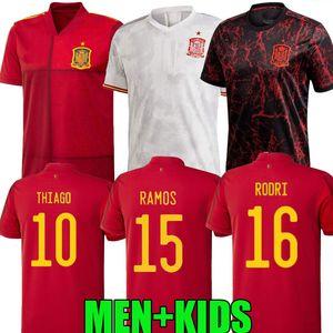 2020 2021 Spanien Fußball-Trikots RAMOS THIAGO 20 21 Nationalmannschaft Diego Costa Rodri Männer Kinder-Fußball-Hemd T-Shirt de fútbol-Player-Version