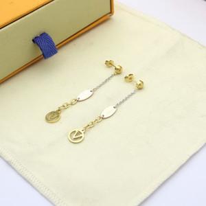 Europe America Fashion New Style Lady Women Titanium Steel Tassels 3 Color V Initials Stud Long Chain Earrings