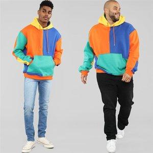 Allentato di contrasto di colore con pannelli Designer Mens hoodies di modo grandi tasche felpate Plus Size Maschio Abbigliamento Dropshipping
