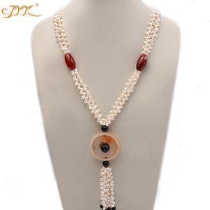 Kadınlar için Jyx 5.5x7mm beyaz oval tatlı su inci ve kırmızı ve siyah akik kolye Takı Hediye