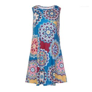 Beach Dress Printed Sleeveless Floral Dress Ladies One Piece Colorful Clothing Summer Designer Women Dresses Sexy