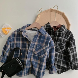 New INS Unisex Korean Japan Styles Kids Girls Boys Plaid Shirts Girls Boys Plaid Shirt Autumn Cotton Fashion Kids Top 1-7T