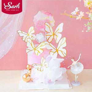 Schmetterling Garn Traumfänger Alles Gute zum Geburtstag Kuchen-Deckel-Partei-Dekoration Backwaren Liebe Geschenk