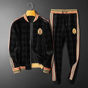 2020 outono e inverno veludo novo ouro dos homens é de esportes casuais terno temperamento roupas masculinas uma confortável dos homens bordados terno moda