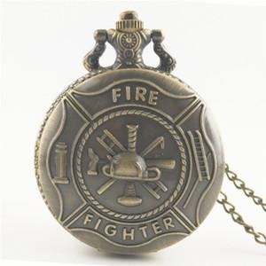 Antique Bronze Retro Mens Estados Unidos Oficiais US bombeiro pingente EUA Militar Fire Dept Femininos Colar relógio de bolso jóias pingentes de