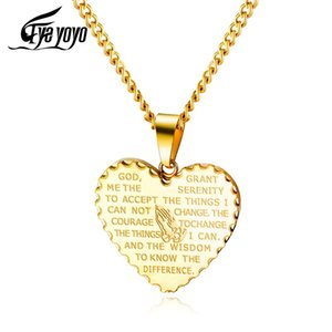 EyeYoYo Explosion Style Male Female Titanium Steel Love Pendant Retro Christ Believer Praying Hands Scripture Necklace EGX1523