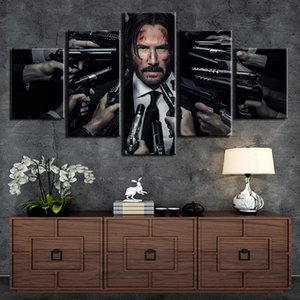 5 Pieces John Wick Poster Painting Wall Art Frame Canvas Pictures Modern HD Printed Wall Art For Living Room Home Decor Artwork