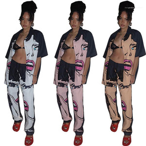 Girl Pattern Printed Lapel Neck Single Breasted Pants Suits Womens Clothing 2 Piece Set Summer Ladies Designer Shirt Suits