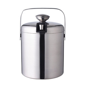 Wholesale 24pcs lot 1.3L Beer Ice Bucket Double wall Stainless Steel Insulated 1300ml Ice Bucket with Lid for Bar