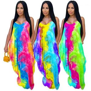 Повседневный Sexy 3 Стилей женской одежды Tie Dye женщины конструктора платье лето планка спагетти O-образный вырез Plus Maxi платье