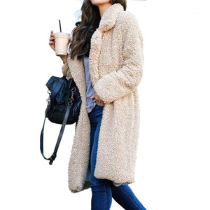 mulheres cor sólida outerwear do inverno Plush lapela Neck Mulheres Long Coats Moda Cardigan lã Coats Casual