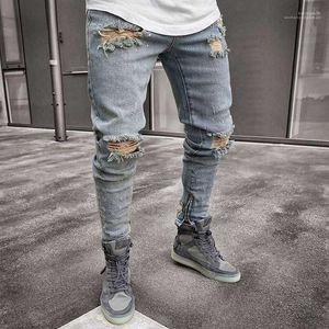 Fit Holes Zipper Pencil Pants Hombes Pantalones Denim Blue Ripped Designer Jeans Mens Clothing Draped Slim