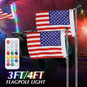 SUV ATV UTV için 3/4 ft RGB su geçirmez Bükülebilir Kablosuz Uzaktan Kumanda Süper parlak LED Flagpole lambası Işık DC12V + Amerika Bayrağı