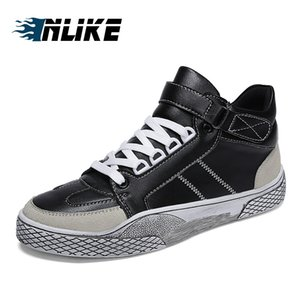 Man inlike YENİ Moda Yüksek Top Erkekler Skate Board Ayakkabı Kanca Döngü Kamuflaj Erkekler'S Bilek Boots Ayakkabı
