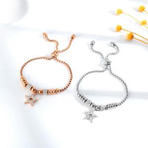 Hot Sale Small design with diamond five pointed star titanium steel bracelet simple temperament girlfriends birthday gift
