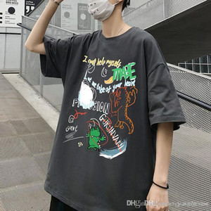 New Mens Hong Kong style graffiti printed short-sleeved T-shirt Unisex summer brand ins loose student cotton half-sleeve T-shirts