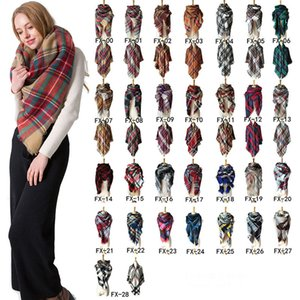 Ladies Scarf Fall Winter Imitation Cashmere Double-side Colorful Print Plaid Stripe Square Scarf Tassel Classical Shawl OOA9065