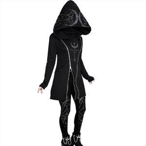 Gothic Punk Women Hooded Double Zipper Casual Black Hoodies Slim Fit Female Dark Sweatshirt Goth Outdoors Clothes Hoody