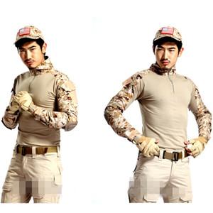 Tactical Shirt Desert Camouflage Army Uniform T Shirts Men Long Sleeve Quick Dry Camo Outdoor Combat BDU Shirt