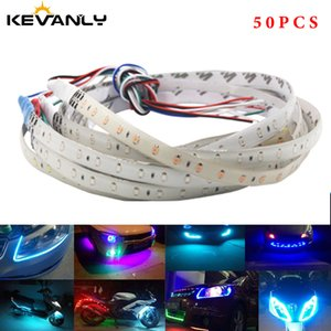 50pcs Car LED Strip 30cm 60cm 18 modes Flexible colorful Decorative flowing Lamp motor DRL RGB Angel Eyes Daytime Running light