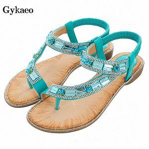 Gykaeo Ladies Summer Shoes Bohemian Style Blue Red Fashion Sandals Women Lattice Stripe Flat Soled Beach Shoes Zapatos De Mujer xHrF#