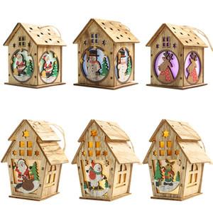 6PCS DIY 목조 주택 크리스마스 트리 장식 LED 조명 벽걸이 장식품 어린이를위한 목조 주택 새해 선물