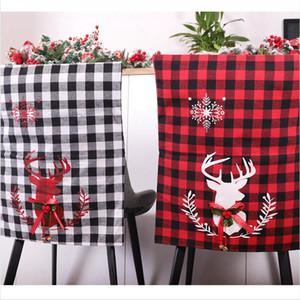 Noel Sandalye Kapak Bezi Kırmızı Siyah Beyaz Izgara Koltuk Kapak Elk Baskı Sandalye arkalığı Kapak Ana Yılbaşı Partisi Decoracion DDA528