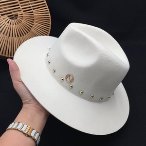 standard white Fedoras wool New England autumn winter rivet cap tide female ladies women's hats panama