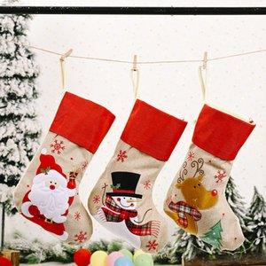 Yeni Noel T3I51089 Noel çorapları Çocuk dekoratif hediye çanta şeker çanta işlemeli Keten kar tanesi bez dekorasyonlar