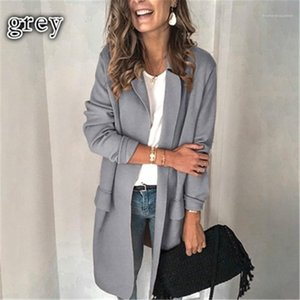 Designer Winter Female Loose Cardigan Coat Lady Solid Color Long Sleeves Outerwear Fashion Fake Pocket Casual Suit Coat