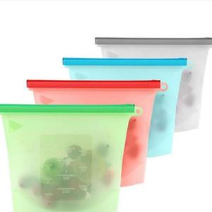 حقائب السيليكون ختم الأغذية الطازجة قابلة لإعادة الاستخدام تخزين المواد الغذائية حقيبة ثلاجة التجميد الفاكهة حاويات الحليب الفاكهة اللحوم المنظم حقائب 1000ML ZCGY77
