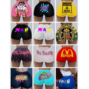 Мода Женщины Йога Брюки Тонкий Сплошной цвет Письмо печатных Узкие брюки Новые женские Sexy Hot Pants гетры 968