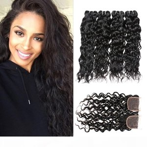 Water Wave Bundles with Closure 8A Brazilian Virgin Hair Wet and Wavy Hair Extensions 4 Bundles with 4x4 Lace Closure 5pcs lot
