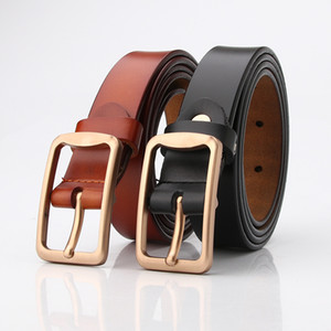 Men's retro Korean version of simple leather fashion belt square buckle cowhide Japanese word buckle casual jeans belt