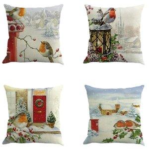 Christmas Cotton Linen Sofa Car Home Waist Cushion Cover Throw Pillow Case Home Decorative Pillow Cover 45X45CM Fundas De Cojin5