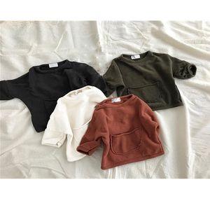 Newest INS Little Boys Girls Sweatshirts Designer Pockets Spring Autumn Fashions Children Bountique Clothes Sweatshirts
