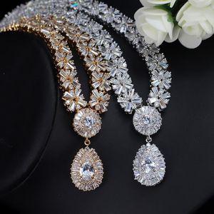 CWWZircons Exclusive Dubai Gold Color Jewellery Luxury Cubic Zirconia Necklace Earring Bracelet Party Jewelry Set For Women T053 C19010301
