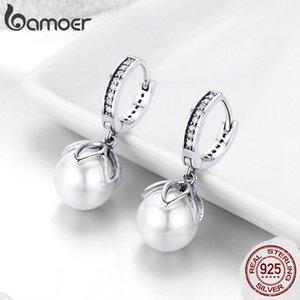 BAMOER Elegant 925 Sterling Silver Luminous Gentle Love Flower Freshwater Pearl Drop Earrings Female Women Pearl Jewelry SCE482 200923