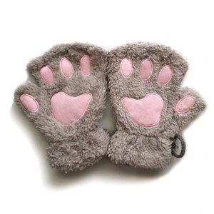 Женский Trendy Cat Claw Плюшевые перчатки Половина пальцев перчатки пальцев Пишущие мультфильм Lanyard Теплый