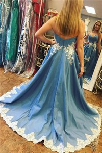 High Low Prom Dresses Short Front Long Back Light Sky Blue Satin With White Applique Lace A Line Evening Dresses Formal Party Gowns