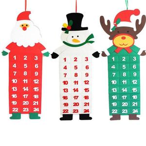 Árvore de Natal Christmas Countdown Calendar Felt Calendário Pendant Xmas decoração elementos em forma Advent Calendar Ornamento de suspensão