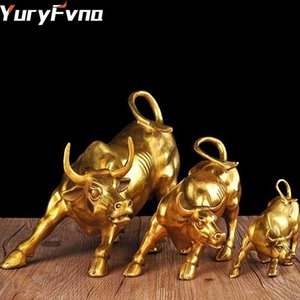 YuryFvna 3 tailles d'or de Wall Street Bull OX Figurine Sculpture Statue de charge Stock Market Bull Home Office Décoration cadeau