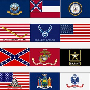 3x5ft USA Flag Mississippi State Flag Confederate Flags 90*150cm U.S. Army Banner Airforce Marine Corp Navy Banner DHC312