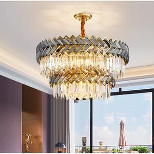 New Arrival Crystal Chandelier Modern Good Quality Round Hanging lustre Elegant K9 Crystal Suspension Lamp for Living room Foyer