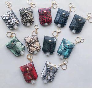 Leopard Sanitizer Flasche Taschen Schlüsselanhänger mit 30ML Empty Bottle Hand Sanitizer Halter PU-Leder-Parfüm-Flasche Abdeckung Partei-Bevorzugung DDA545