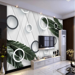 Modern minimalist circle leaf wallpapers TV background wall 3d murals wallpaper for living room